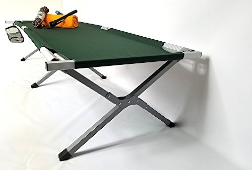 Oasis Raptor Military Folding Cot -Heavy Duty Construction-Includes A Raptor Camping Package (One Shovel, One Camping Rope, One LED FLASLIGHT & One - Aluminum Duty Folding Cot Heavy