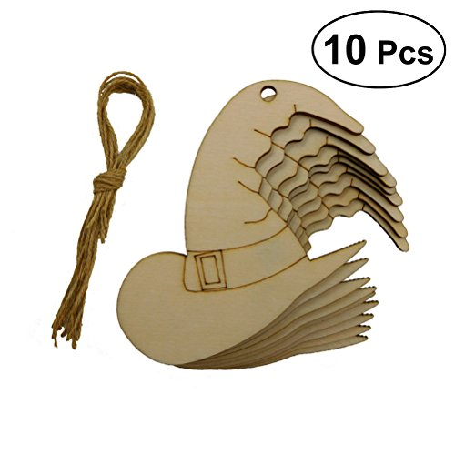 Amosfun 10pcs Blank Unfinished Wooden Halloween Witch Hat Laser Cut Out Wood Hanging Tag Craft Supply DIY Scrapbooking Halloween Decor -