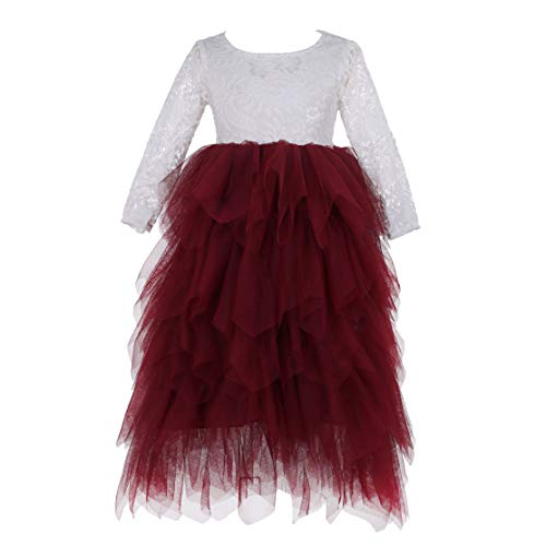 (Flower Girls Tutu Lace Cake Dress Skirts Princess Birthday Party Dresses (Wine Red, 7T))