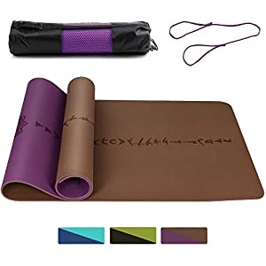 DAWAY Eco Friendly TPE Yoga Mat Y8 Wide Thick Workout Exercise Mat, Non Slip Grip Pilates Mats, Body Alignment System…