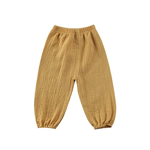 BiggerStore Cute Toddler Kids Baby Boy Girl Casual Eelastic Harem Long Pants Bloomers (3-4 Years, Yellow)