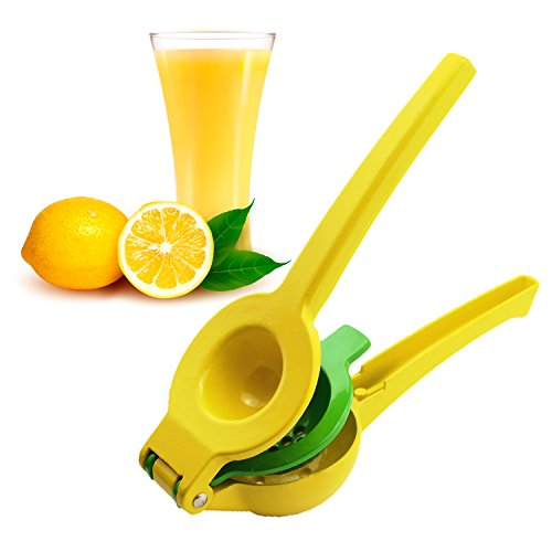 iSaddle Manual Juicer Lemon Lime Squeezer - 2 Bowls Built-in Citrus Press Juicer | Durable Enameled Aluminum Orange Press | Yellow & Green Hand Held Fruit Juicer - Free Bonus Orange Peeler (Juicer Press Yellow compare prices)