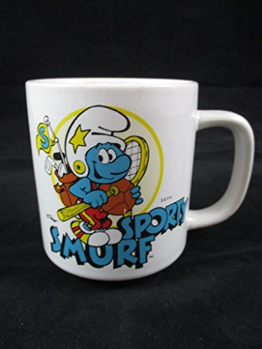 (Vintage 1981 Smurf Sporty Ceramic Mug W Berrie & Co Peyo)
