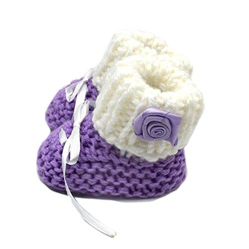 Magic Needles Hand Knit Crochet Turkish Yarn Baby Booties - 4259 (0-3 Mths Toe to Heel 10 cms) Purple/White