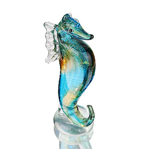 QF Handmade Glass Blue Seahorse Collectible Art Glass Blown Animal Figurine