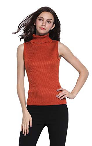 Sofishie Sleeveless Ribbed Turtle Neck Sweater Tunic - Autumn - Small (Ribbed Wide Turtleneck)