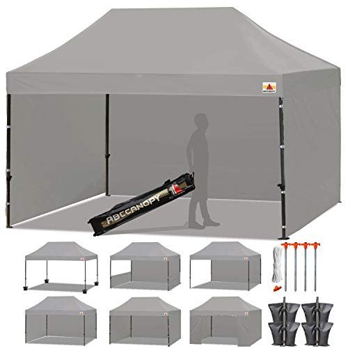 ABCCANOPY 23 Colors Deluxe 10×15 Pop up Canopy Outdoor Party Tent Commercial Gazebo with Enclosure Walls and Wheeled Carry Bag Bonus 4 Weight Bags and 2 Half Walls Gray