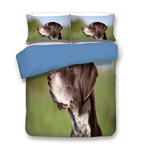 Duvet Cover Set Full Size, Decorative 3 Piece Bedding Set with 2 Pillow Shams,German Short Haired Pointer in Wilderness Portrait Photo Kurzhaar Pet Dog ()