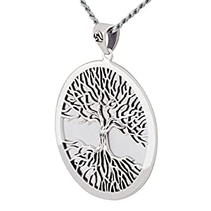 Men's 0.925 Sterling Silver Mickie Mueller Wiccan Tree of Life Pendant Necklace, 18in to 24in