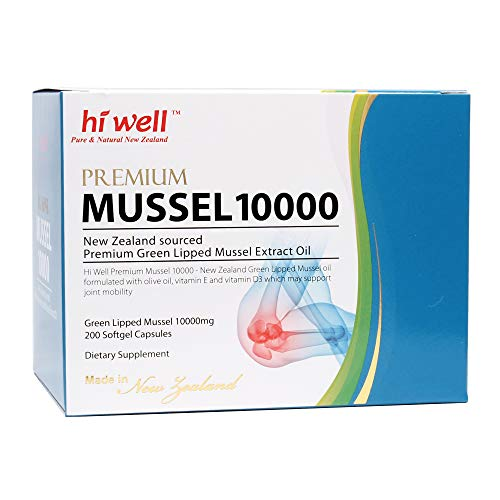 Hi Well Premium Green Lipped Mussel 10000mg 200 Capsules New Zealand Green Lipped Mussel Extract Oil Joint Health Support & Mobility by Hi Well (Image #1)