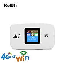 KuWFi Unlocked Travel Partner 4G LTE Wireless 4G Router with SIM Card Slot Support LTE FDD B1/B3/B5 work with US AT&T Europe Caribbean South America Africa easy to carry in hand for outdoor