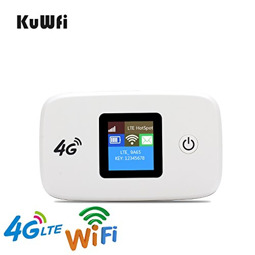 KuWFi Unlocked Travel Partner 4G LTE Wireless 4G Router with SIM Card Slot Support LTE FDD B1/B3/B5 work with US AT&T Europe Caribbean South America Africa easy to carry in hand for outdoor by KuWFi