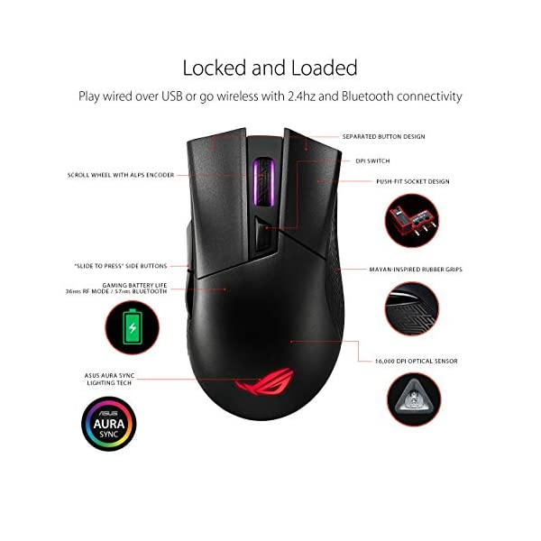 ASUS Wireless Optical Gaming Mouse for PC - ROG Gladius II | Right-Hand Grip | 12000 DPI Optical Sensor, 400 IPS, Omron…