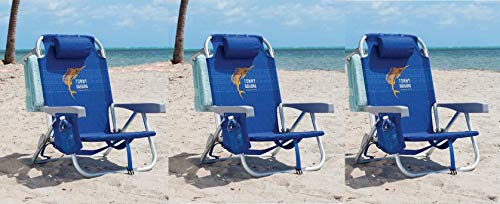Deluxe Folding Chair - Tommy Bahama 3 Pack Backpack Beach Chair Blue with Sailfish Logo