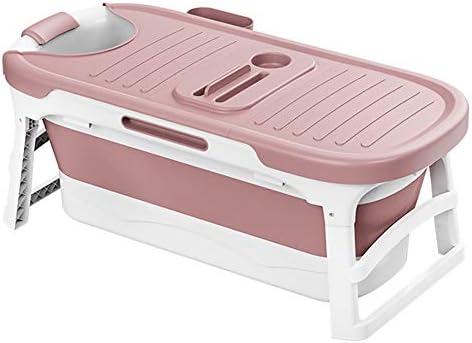 折りたたみ浴槽ポータブル大人風呂バレル家庭用スパ浴槽プラスチック大型全身洗浄浴槽浴槽バレル(Color:ピンク)