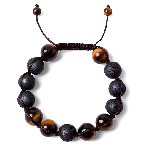 Bella.Vida Mens 12mm Balance Bracelet Braided Handmade Natural Tigers Eye Lava Stone Healing Energy Yoga Mala Meditation Chakra Beads 8 (Braided)