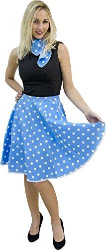 Falda rock n roll-Pañuelo azul turquesa y assort. diseño de ...