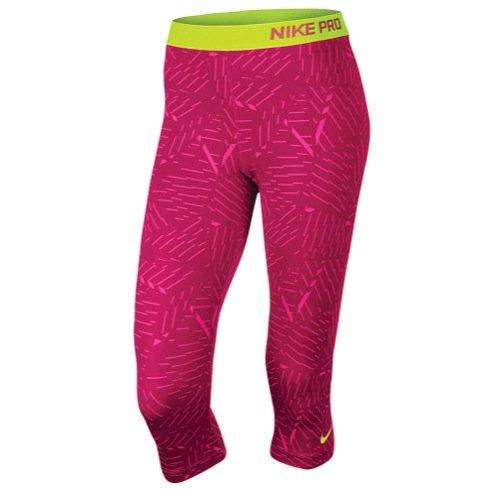 new-nike-womens-pro-classic-bash-capris-hot-pink-dk-fireberry-volt-small