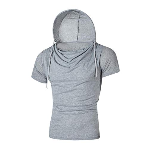 Stylish Personality Tops Tees Short Sleeve Man Hooded Casual T-Shirt Blouse Gray