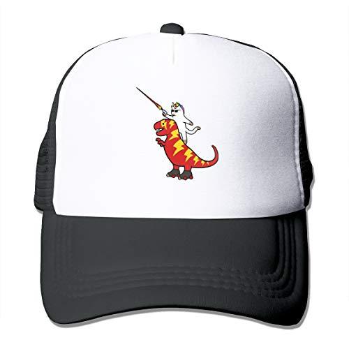 (Unicorn Cat Riding Lightning T Rex Trucker Hat Snap Back Sun Mesh Baseball Cap Hip Hop Flat Hats for Men and Women Black)