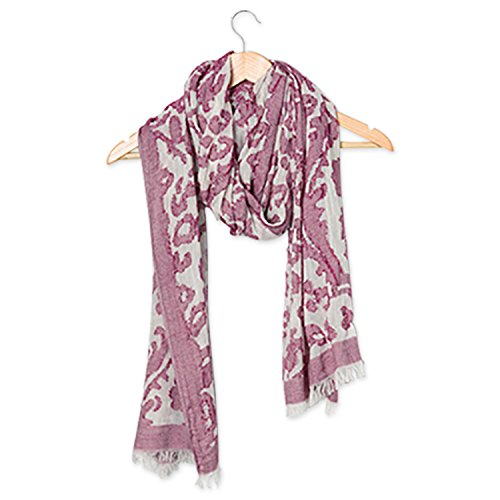 (Tickled Pink Women's Vintage Floral Tapestry Lightweight Oblong Scarf, Wine, One Size)