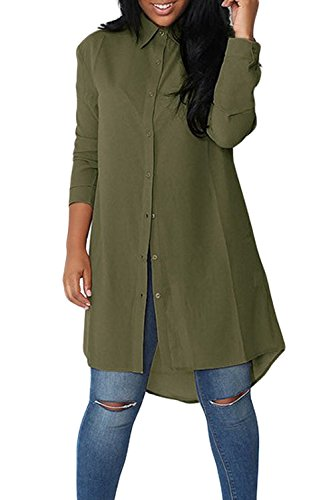 Solides Armygreen Occasionnel Irrgulier Femmes de Mousseline Haut Manches Longues Zamtapary Chemisier Bouton Midi 7xEqaxY