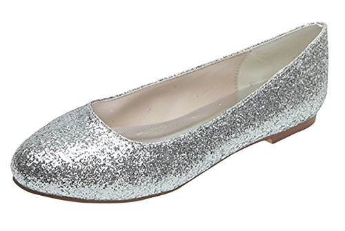 Fashionmore Women's Sequin Round Toe Flat Shoes