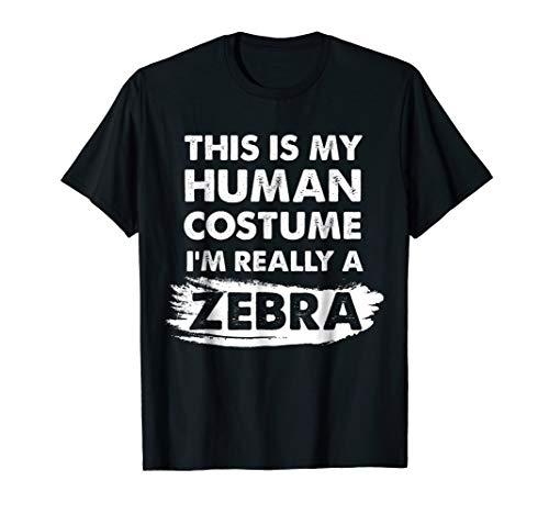 Mens This Is My Human Costume I'm Really a Zebra, Halloween Shirt 2XL Black