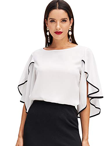 Floerns Women's Casual Half Ruffle Sleeve Chiffon Blouse Top Black White - Black White Blouse