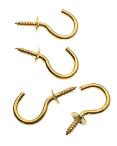 Stanley Hardware S759-040 CD8481 Cup Hooks in Bright Brass, 4 pack