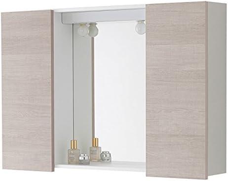 Bricote Specchio Bagno da Parete con Luce 80x60 Rovere Bianco con Mesole Contenitore armadietto Due Ante Legno Moderno/…