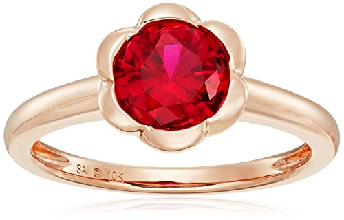 10k Pink Gold Lab Created Ruby Ring, Size 7
