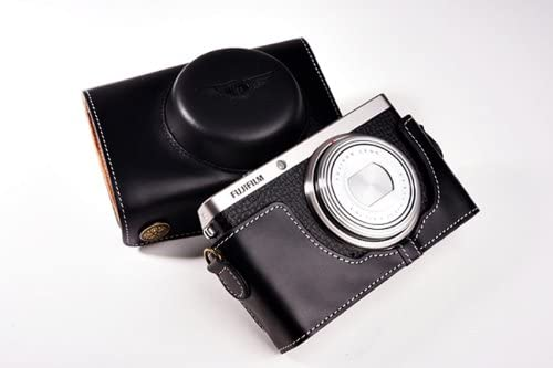 Handmade Genuine real Leather Full Camera Case bag cover for Fujifilm XF1 FUJI XF1 Black Color