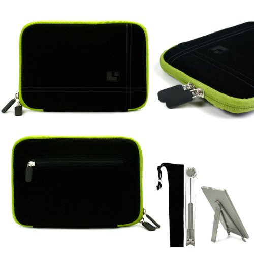 Black with Green Trim Smart Aero Protection Design Slim Soft Suede Cover Carrying Sleeve Case with Extra Accessory Back Pocket for Amazon Kindle (Wi-Fi, 6'' E ink Display) + a Pocket 2 Way Tablet Stand by AmazonKindle