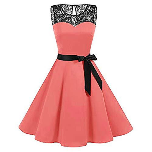 Sexy Plus Size Dresses for Women,Women Sleeveless Solid Lace Hepburn Vintage Swing High-Waist Pleated Dress,Pink,XXL