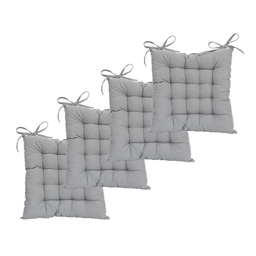 shuoclouds 4-Pcs Square Cotton Canvas Chair Pads Solid Color Chair Cushion for Office,Home Available in 17 Colors & 6 - Chair Canvas Dining Cushions