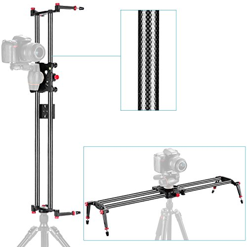 Neewer 23.6''/60cm Carbon Fiber Camera Track Dolly Slider Rail System with 17.5lbs/8kg Load Capacity for Stabilizing Movie Film Video Making Photography DSLR Camera Nikon Canon Pentax Sony by Neewer