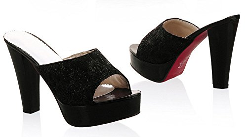 Aisun Womens Dressy Platform Peep Toe Slide Sandals Mules High Heels Shoes Black dgUZsC2ZRv