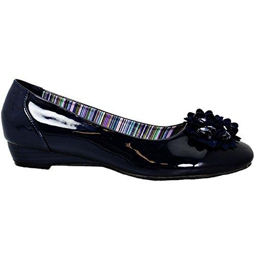 Plano Acento Cuentas la Zafiro Boutique de Marino Zapatos Liso Azul Escuela El a Charol Flor para Regreso Mujer Oficina HqHIw4Y