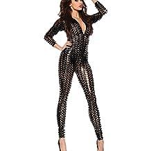 Wonder Pretty Womens Jumpsuit Catsuit Romper Metallic Bodysuit Sexy Clubwear Stripper Leather Lingerie