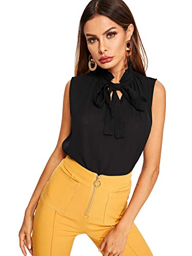 Floerns Women's Tie Bow Neck Sleeveless Chiffon Solid Blouse Top Black L