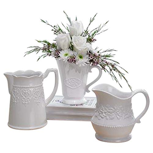 Decorative Floral Classic White 7 x 4 Glossy Ceramic Pitchers Set of 3 - Floral White Ceramic