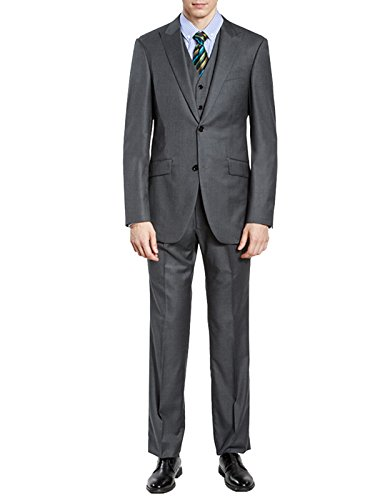 HBDesign Men's 3 piece 2 Button Peak Lapel Slim Trim Fit Dress Suite Grey 50R by HBDesign