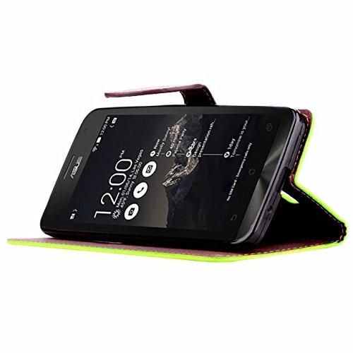 SRY-Funda ASUS Zenfone 5 Funda de Silicona suave Funda de la carpeta Funda de la hoja Funda de sujeción magnética Funda de cuero PU para ASUS Zenfone 5 Protege tu teléfono ( Color : Green , Size : ASU Green