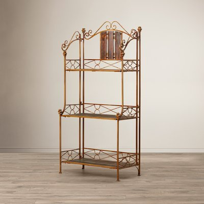Bronze Dining Room Bakers Rack (Quality Functional Baker's Rack, Durable Wood/Metal Construction, Brown and Bronze Finish, Elegant Choice for Any Style Kitchen Storage Furniture or Dining Room)