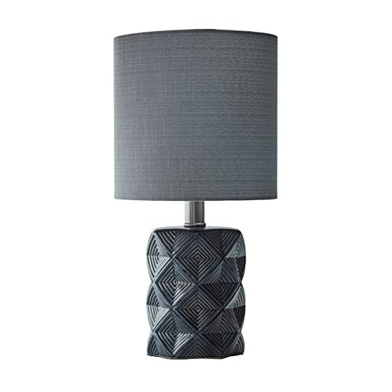 "Rivet Geo Modern Black Ceramic Living Room Table Desk Lamp With LED Light Bulb - 15 Inches, Grey - Geometric shapes in shades of grey and black give this lamp's ceramic base a modern feel, while a fabric drum shade, also in grey, gives it a classic hint. This lamp will add pleasing ambient light to transitional or modern décor. 8"" Diameter x 15""H Ceramic base, grey fabric shade - lamps, bedroom-decor, bedroom - 41WETgjWivL. SS570  -"