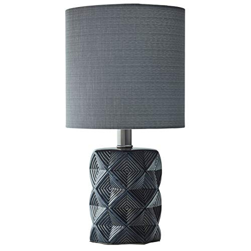 Rivet Geo Modern Black Ceramic Living Room Table Desk Lamp With Bulb - 8 x 15 Inches, Grey