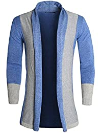 Allegra K Men Shawl Collar Contrast Color Knit Cardigan