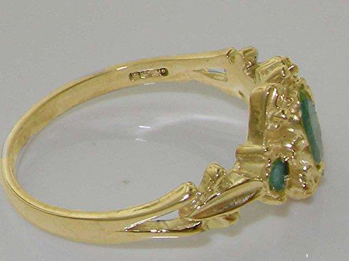 Haute Qualité Bague pour Femme en Or jaune 375/1000 sertie d'Emeraude - Tailles 47 à 68 disponibles