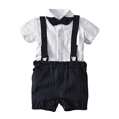 Clearance!Toddler Baby Boy 3 Piece Gentleman Ruffle Suspenders Short Sleeve Shirt Top with Sun Hat (6-12 Months, White A)
